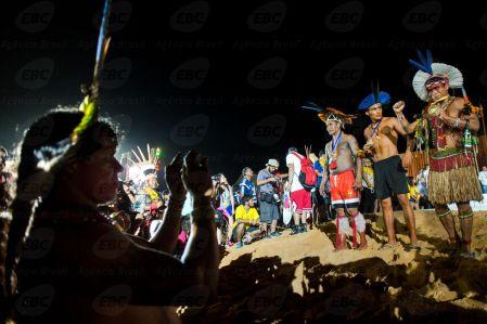 Palmas (TO) - Diversas etnias indígenas participam do encerramento dos Jogos Mundiais dos Povos Indígenas, em Palmas. (Marcelo Camargo/Agência Brasil)