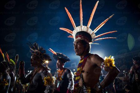 Palmas(TO) - Diversas etnias indígenas participam do encerramento dos Jogos Mundiais dos Povos Indígenas, em Palmas. (Marcelo Camargo/Agência Brasil)